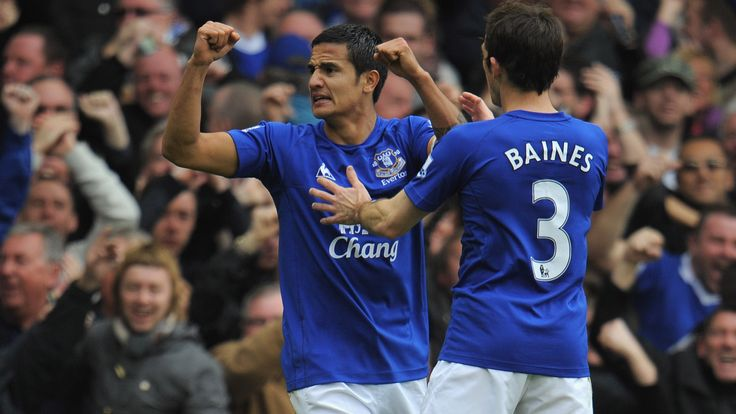 Tim Cahill celebrates after scoring for Everton against Liverpool at Goodison Park in October 2010