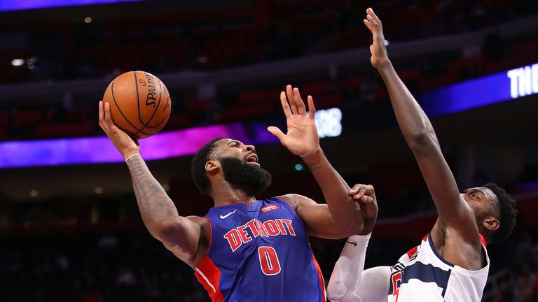 Andre Drummond lofts a jump hook against Washington