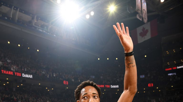DeMar DeRozan salutes the fans of his former team, the Toronto Raptors