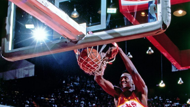 Dominique Wilkins jam the ball home in the 1988 All-Star Slam Dunk Contest
