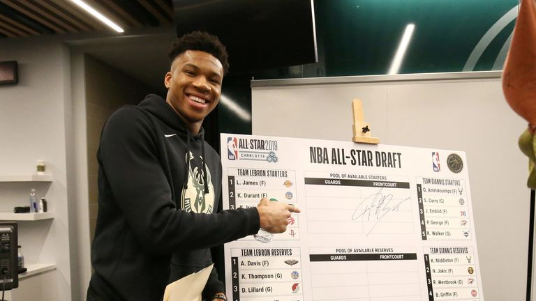 Team captain Giannis Antetokounmpo poses with his All-Star Draft board