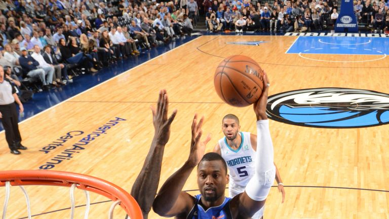 Harrison Barnes in action in his final game for the Dallas Mavericks