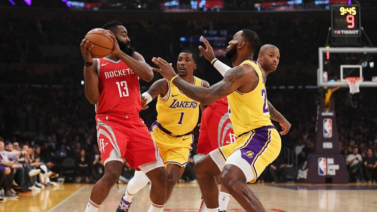 LeBron James guards James Harden