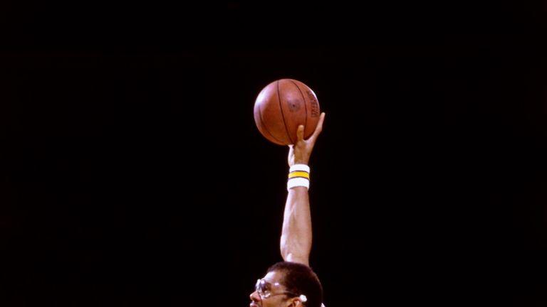Kareem Abdul-Jabbar launches a trademark sky hook in the 1985 NBA Finals