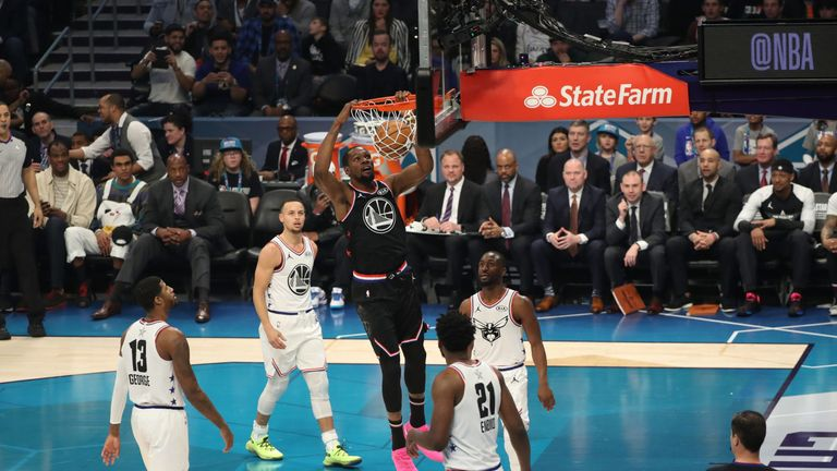 Team LeBron's Kevin Durant hammers home a dunk en route to a team-high 31 points
