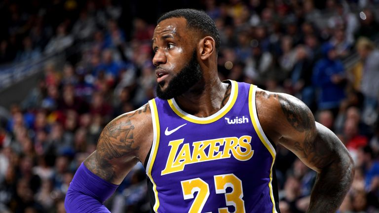 LeBron James shows concern during a Lakers game