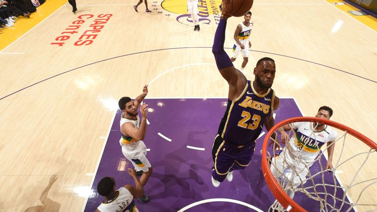 lowest price 94496 db751 LeBron James outduels Anthony Davis to lead Los Angeles Lakers to victory  over New Orleans Pelicans