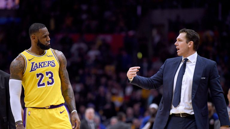 LeBron James and Lakers coach Luke Walton exchange words