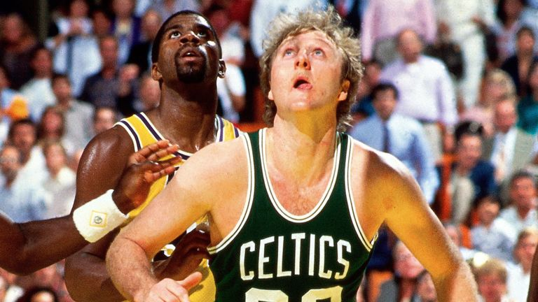 Magic Johnson and Larry Bird do battle in the NBA Finals