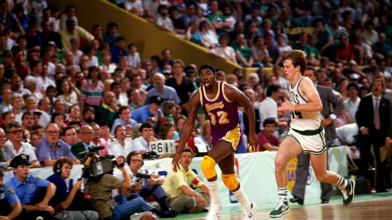 Lakers and Celtics general managers Magic Johnson and Danny Ainge in action in the 1985 NBA Finals