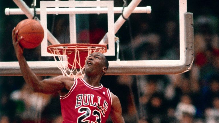 Michael Jordan throws down a monster jam in the 1988 Slam Dunk Contest