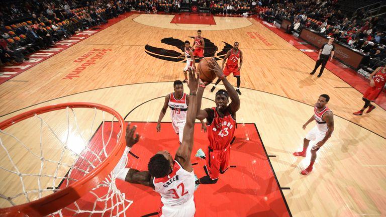 Pascal Siakam attacks the basket against Washington