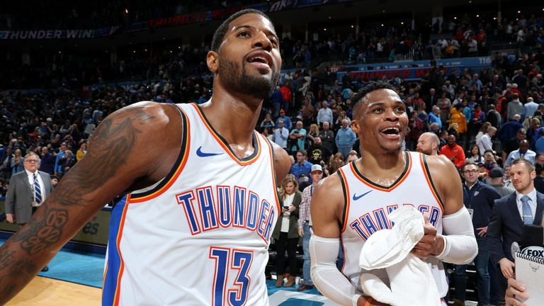 Paul George and Russell Westbrook celebrate the Thunder's victory over the Portland Trail Blazers