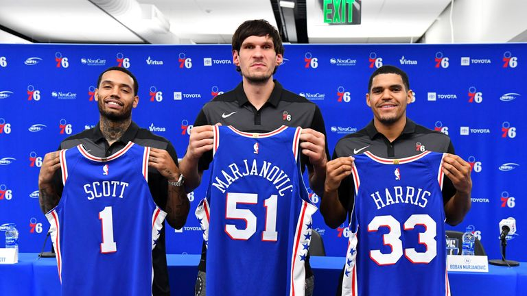 New Sixers Mike Scott, Boban Marjanovic and Tobias Harris are introduced to the media