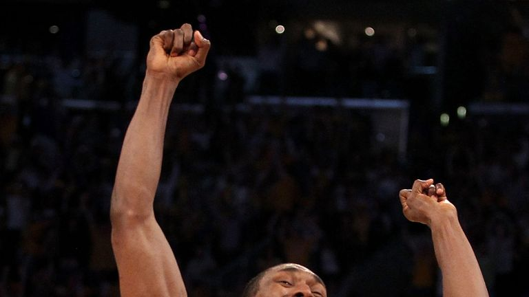Ron Artest celebrates his game-winner in game seven of the 2010 NBA Finals