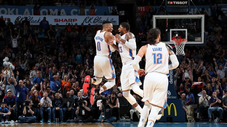 Russell Westbrook and Paul George celebrate during Oklahoma City Thunder's win against Portland