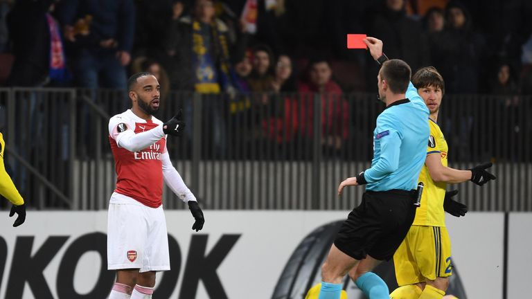 Alexandre Lacazette saw red late on in Arsenal's defeat at BATE