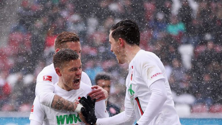 Alfred Finnbogason scored a hat-trick for Augsburg in the Bundesliga