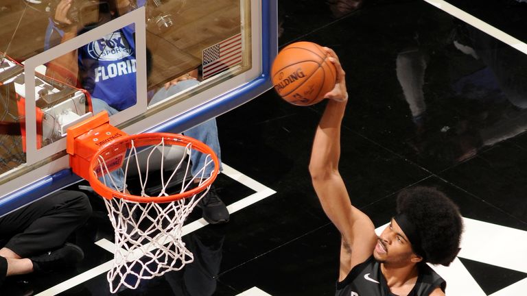 ORLANDO, FL - FEBRUARY 2: Jarrett Allen #31 of the Brooklyn Nets dunks the ball during the game against the Orlando Magic on February 2, 2019 at Amway Center in Orlando, Florida. NOTE TO USER: User expressly acknowledges and agrees that, by downloading and or using this photograph, User is consenting to the terms and conditions of the Getty Images License Agreement. Mandatory Copyright Notice: Copyright 2019 NBAE (Photo by Fernando Medina/NBAE via Getty Images)