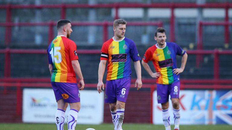 Altrincham prepare to kick off after conceding to Bradford (Park Avenue) on Saturday
