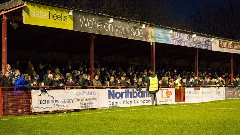 Golf Road End stand, Altrincham FC vs Stockport County. National League North Fixture. Date: 1st January 2019. Venue: J Davidson Stadium, Moss Lane. Attendance: 3,383. Final Score: 0-1. Scorers: -. Copyright Michael Ripley Photography