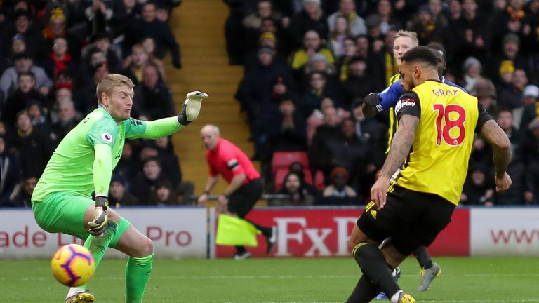 Andre Gray gives Watford the a 1-0 lead