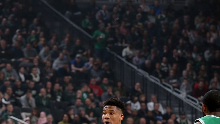 Giannis Antetokounmpo of the Milwaukee Bucks looks to pass the ball during the game against the Boston Celtics
