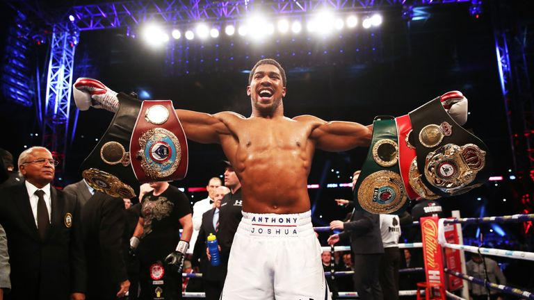 Anthony Joshua's world heavyweight titles are at stake
