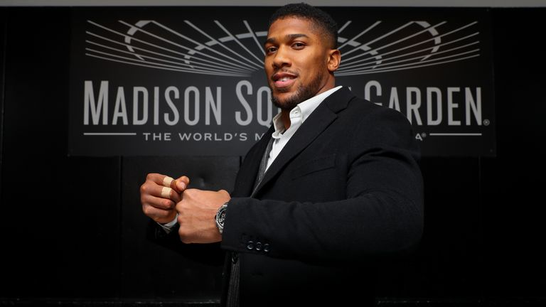 February 19, 2019; New York, NY, USA; WBA Super, IBF, WBO and IBO heavyweight champion Anthony Joshua poses for a portrait in the freight elevator at Madison Square Garden in New York City.  Mandatory Credit: Ed Mulholland/Matchroom Boxing USA