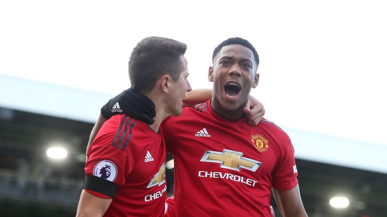 Anthony Martial celebrates with Ander Herrera after doubling Manchester United's lead