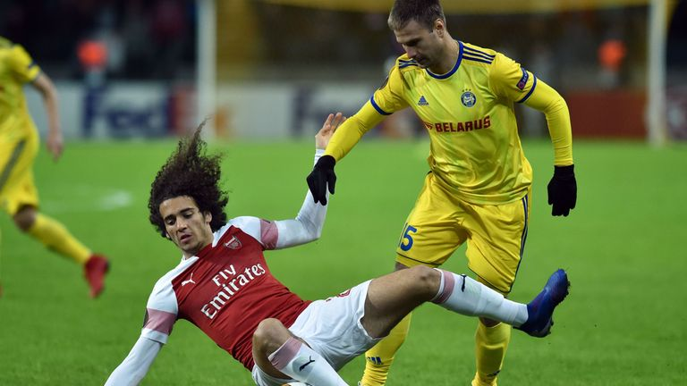Matteo Guendouzi in action for Arsenal against BATE Borisov in the Europa League last-32 first leg
