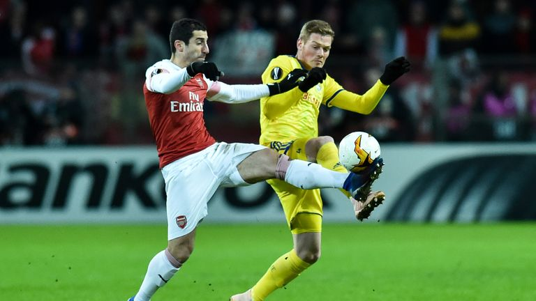 Action from Arsenal's Europa League tie with BATE Borisov