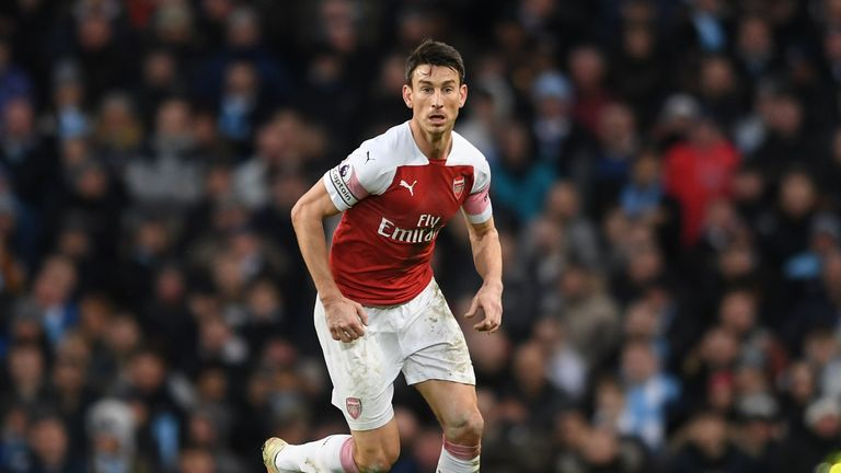 Laurent Koscielny during the Premier League match between Manchester City and Arsenal FC at Etihad Stadium on February 3, 2019 in Manchester, United Kingdom.