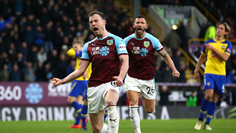 Ashley Barnes celebrates his injury-time equaliser scored from the penalty spot