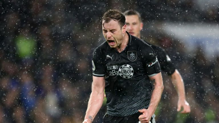 Ashley Barnes of Burnley celebrates after scoring his team's third goal