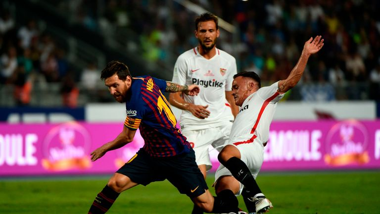 Barcelona beat Sevilla 2-1 in Tangier in the Spanish Super Cup
