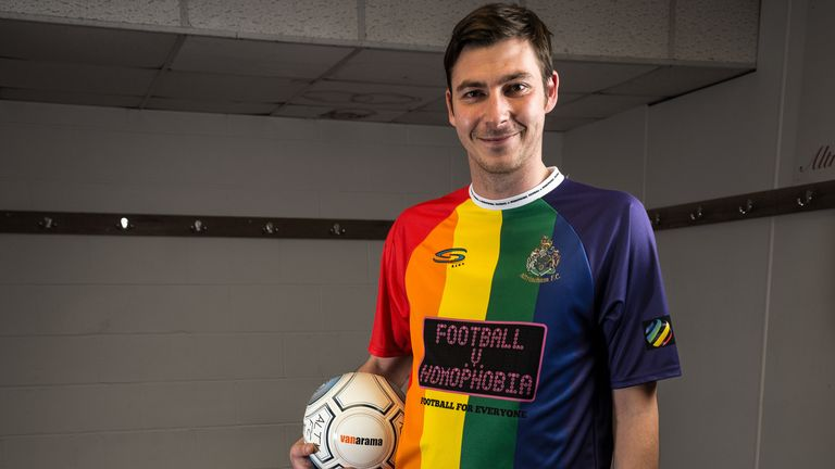 Ben Harrison of Altrincham Football Club poses in a special one-off LGBT pride flag rainbow shirt to support the Football v Homophobia campaign, February 2019