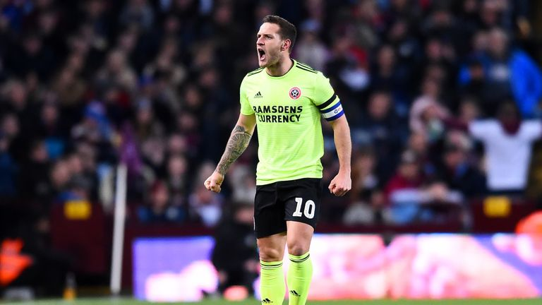 Billy Sharp of Sheffield United celebrates scoring to make it 1-0 during the Sky Bet Championship match between Aston Villa and Sheffield United at Villa Park on February 08, 2019 in Birmingham, England