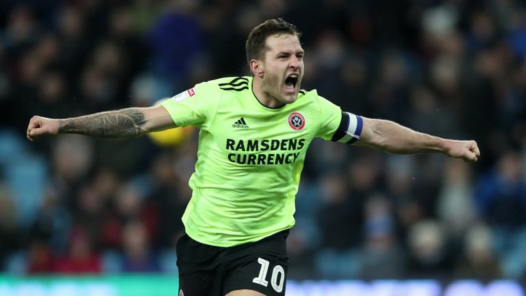 Sheffield United's Billy Sharp celebrates scoring his side's second goal of the game during the Sky Bet Championship match at Villa Park, Birmingham, Friday 8 February 2019