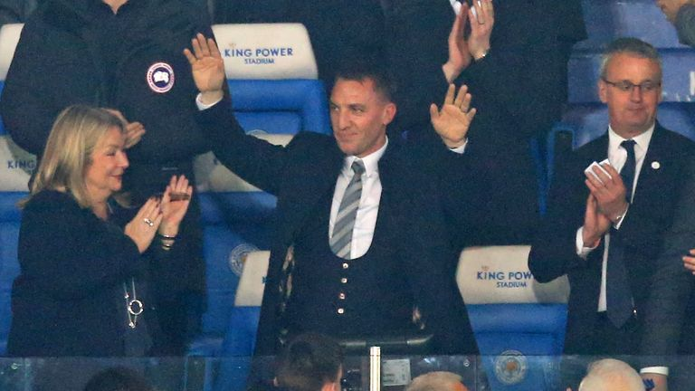 Newly appointed Leicester City manager Brendan Rodgers acknowledges supporters at the King Power Stadium
