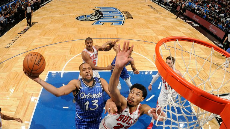 ORLANDO, FL - FEBRUARY 22: Isaiah Briscoe #13 of the Orlando Magic shoots the ball against the Chicago Bulls on February 22, 2019 at Amway Center in Orlando, Florida. NOTE TO USER: User expressly acknowledges and agrees that, by downloading and or using this photograph, User is consenting to the terms and conditions of the Getty Images License Agreement. Mandatory Copyright Notice: Copyright 2019 NBAE (Photo by Fernando Medina/NBAE via Getty Images)