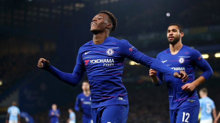 Callum Hudson-Odoi celebrates scoring for Chelsea against Malmo