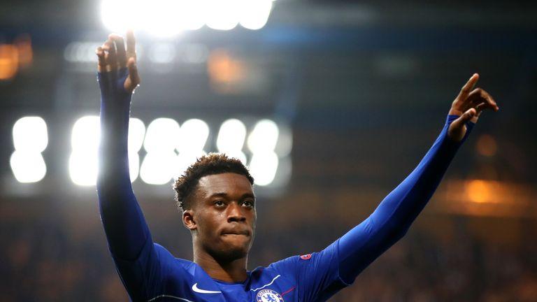 Callum Hudson-Odoi celebrates scoring for Chelsea against Malmo