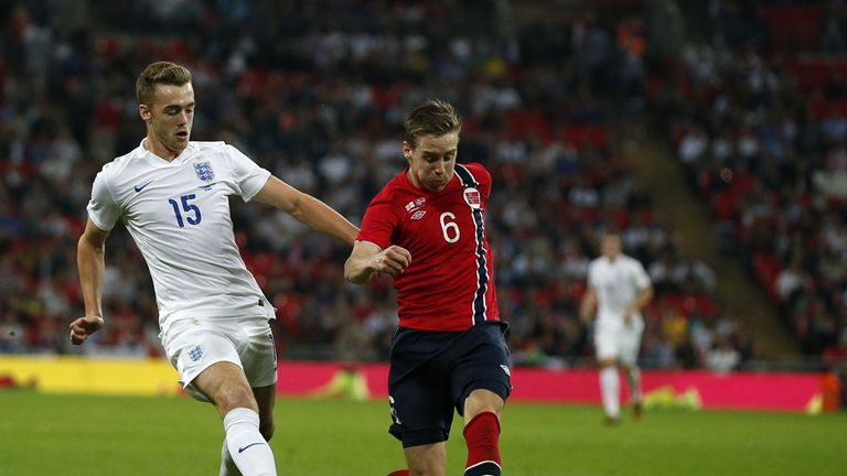 Chambers up against Norway's Stefan Johansen on his England debut in 2014