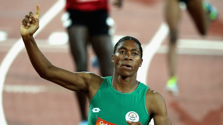 Caster Semenya of South Africa celebrates as she wins gold in the Women's 800 metres final during athletics on day nine of the Gold Coast 2018 Commonwealth Games at Carrara Stadium on April 13, 2018 on the Gold Coast, Australia.