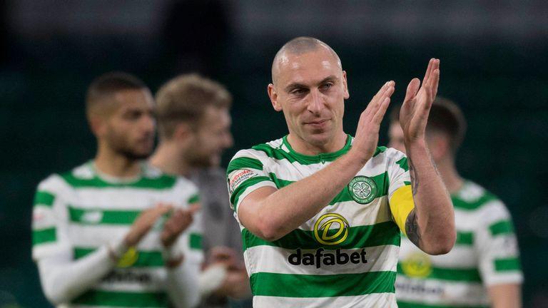 Celtic's Scott Brown celebrates victory over Hibernian