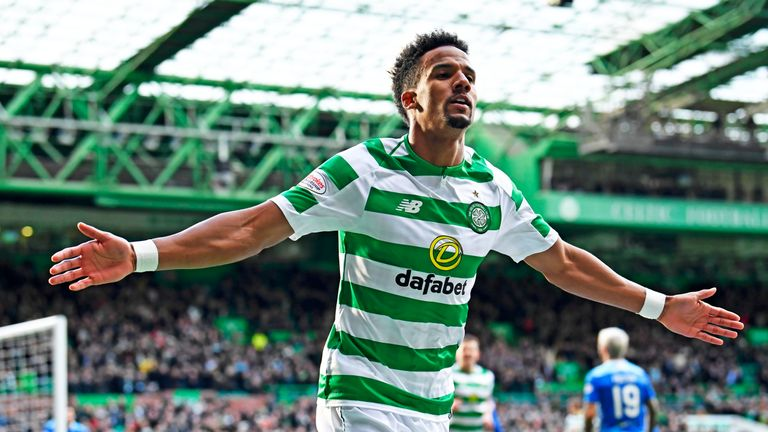 Scott Sinclair celebrates his opening goal in Celtic's 5-0 Scottish Cup win over St Johnstone