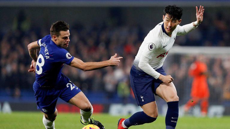 Cesar Azpilicueta and Heung-Min Son in action at Stamford Bridge