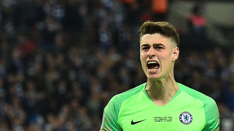 Kepa Arrizabalaga reacts after saving the penalty of Manchester City's German midfielder Leroy Sane