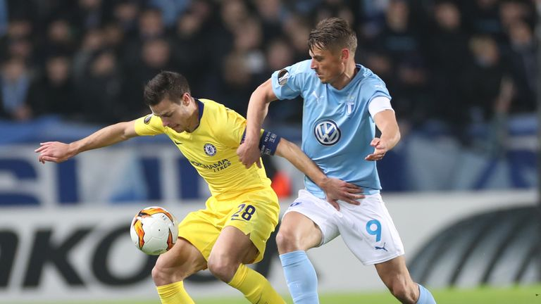 Action from Chelsea's Europa League last-32 first leg against Malmo